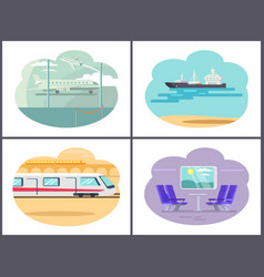 Boat and airplane collection vector