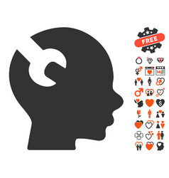 brain wrench tool icon with love bonus vector image