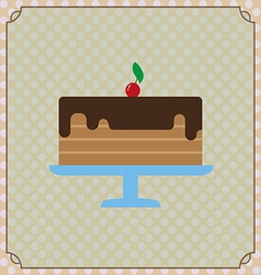 Candy card with a big chocolate cream cake a red c vector