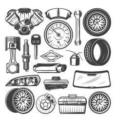 Car spare parts and instruments sketch set vector