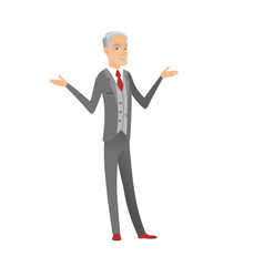 caucasian confused businessman with spread arms vector image