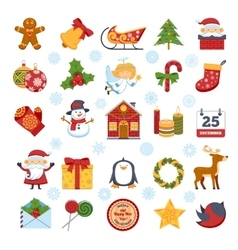 Christmas Characters And Decorations Set vector image