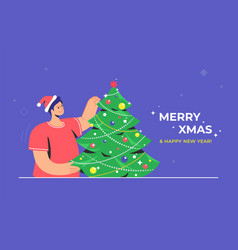 christmas tree decoration and preparation for xmas vector image