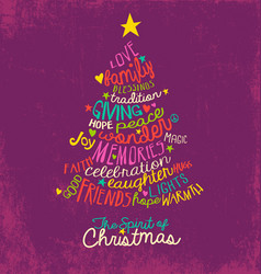 Christmas tree handwritten greeting card vector
