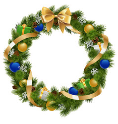 Christmas Wreath with Golden Ribbon vector image