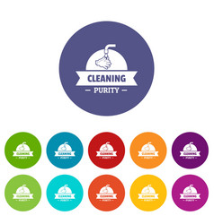 Cleaning purity icons set color vector