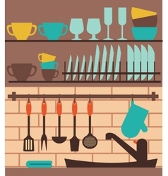 Colorful kitchen sink with utensil vector