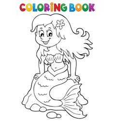 Coloring book mermaid topic 3 vector