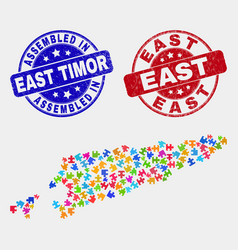 Component east timor map and distress assembled vector