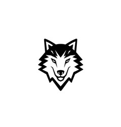 creative black wolf logo design vector image