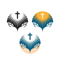 crucifix symbol crucifixion jesus christ icons vector image