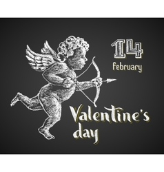 Cupid drawn on chalkboard vector image