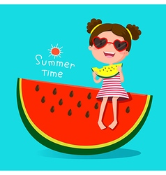 Cute girl eating watermelon vector