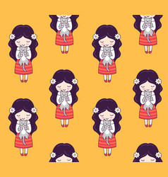cute little dark-haired girls with cats on a vector image
