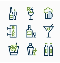 different kind of drink icons icon set vector image