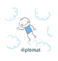 Diplomat flies through the sky vector