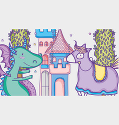 dragon in magical world man with sunglasses and vector image