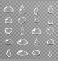 drops 3d realistic liquid water surface icons set vector image