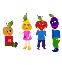 Emotion Fruits with children body vector