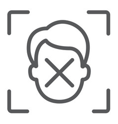 Face id disapprove line icon face recognition vector