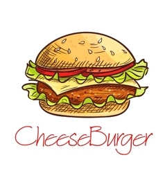 Fast food cheeseburger sketch for cafe menu design vector image