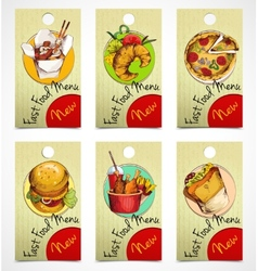 Fast food tags vector