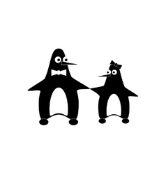 Flat icon in black and white style penguins vector