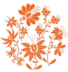 Floral fol pattern in circle vector image