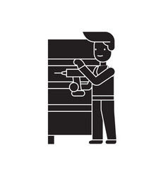 furniture assembly black concept icon vector image