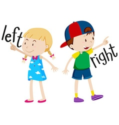 Girl on the left and boy on the right vector image