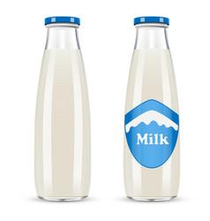 Glass bottle of milk isolated on white background vector