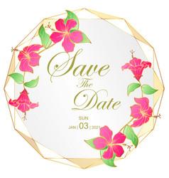Golden wedding invitation card hibscus flower vector