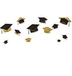graduate caps baner black and gold color on a vector image