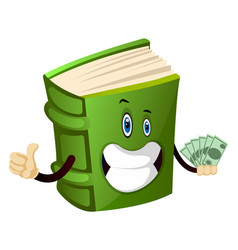 Green book holding money on white background vector