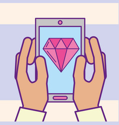 hand holding smartphone diamond app casino cartoon vector image