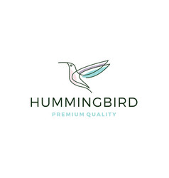 Hummingbird colibri bird logo line outline vector