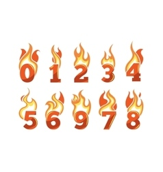 Icons set flaming numbers vector