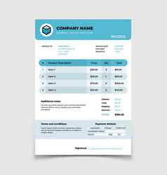Invoice template bill form bookkeeping vector