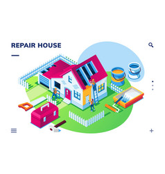 Isometric home repair or house renovation vector
