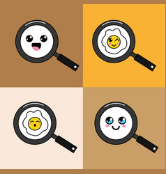Kawaii skillet with food faces icon vector