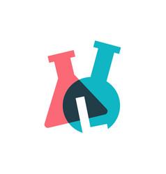 L letter lab laboratory glassware beaker logo icon vector