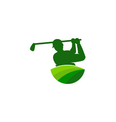 Leaf golf logo icon design vector