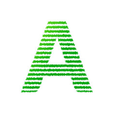 letter a with green strips line vector image