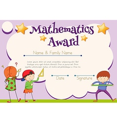Mathematics certificate with student in background vector image