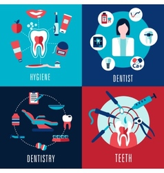Medical flat concept with dentistry infographics vector image