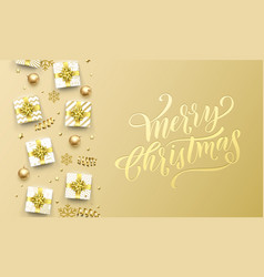merry christmas golden greeting card on premium vector image