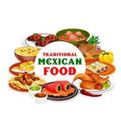 Mexican food with meat vegetables and fish dishes vector