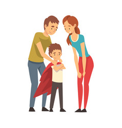 mom and dad are looking at their child cartoon vector image