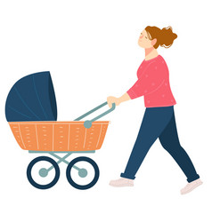 mother walking with perambulator and kid vector image