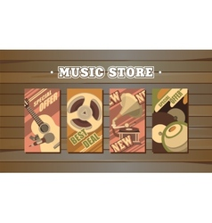 musical retro cards vector image